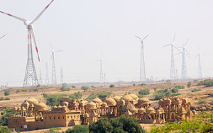 A_Wind_Energy_farm_and_the_Cenotaphs,_the_ancient_and_the_modern,_Jaisalmer_Rajasthan_India