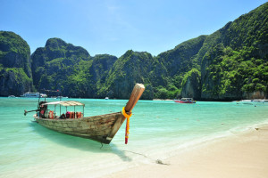 traditional Thailand boat at Phi Phi islands, Thailand